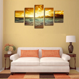 Unframed 5 Piece The Yellow Sea And setting sun Modern Home Wall Decor Canvas Picture Art HD Print Painting On Canvas Artworks