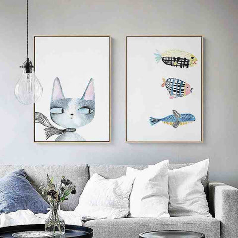 Cat Fish Modern Nordic Animal Paintings Art Prints Posters Cartoon Wall Pictures Canvas Painting For Kids Room Decor