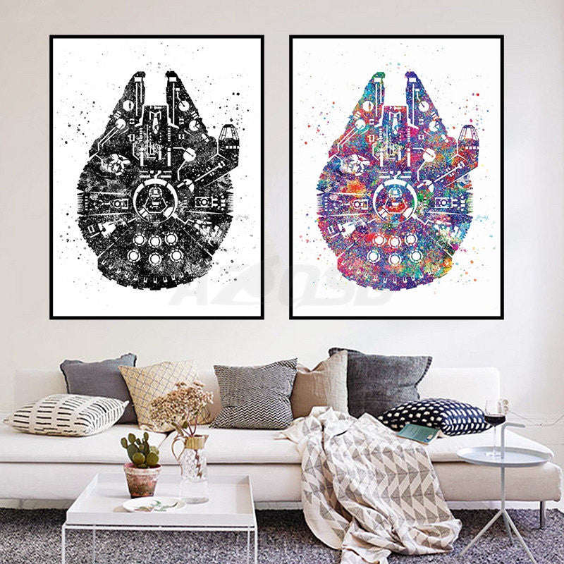 Watercolor Star Wars Ship Pop Movie Art Prints Poster Abstract ...