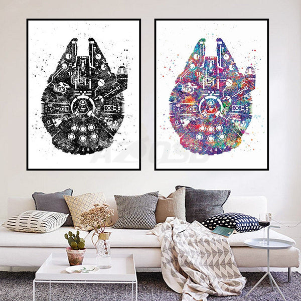 Watercolor Star Wars Ship Pop Movie Art Prints Poster Abstract Canvas Painting No Frame Living Room Decor PP063