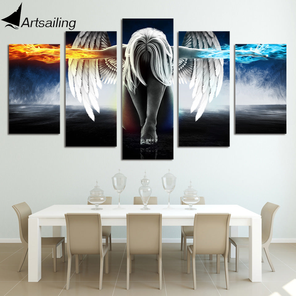 Hd printed 5 piece canvas art angel with wings painting anime room decor print poster wall art free shipping up 874