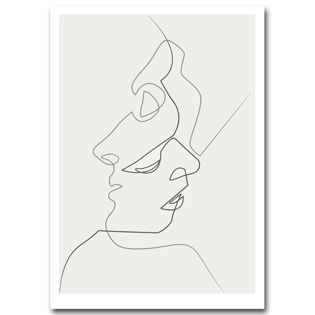 Kiss One Line Drawing Face Sketches Minimalist Art Canvas Poster Painting Black White Abstract Picture Print Modern Home Decor