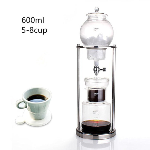 600ML large capacity stainless steel frame glass ice drip pot / high quality drip coffee maker ice drip coffee filters tool