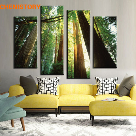 Unframed 4 Panel Green Forest Landscape Modern Large HD Print Painting Wall Art Picture For Wall Decor Home Decoration Artwork