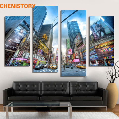 Unframed 4 Pieces City Street Building Modern Print Painting Wall Art Home Decor For Living Room Canvas Painting Artwork
