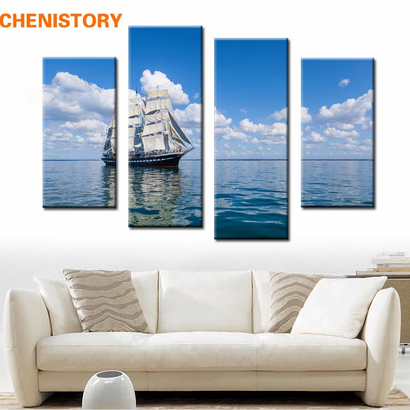 Unframed 4 Panel White Cloud Blue Sky Sailing Seascape Modern Print Painting On Canvas Wall Art Picture For Home Decoration
