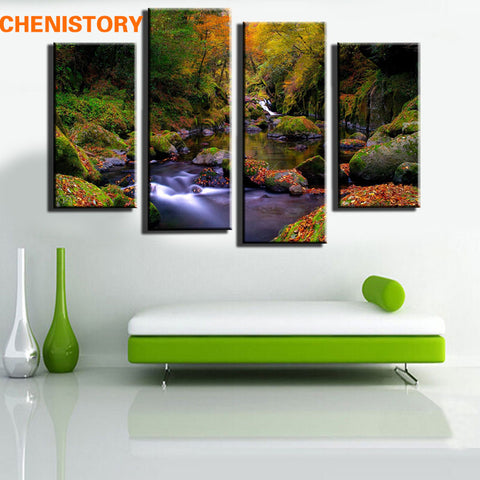 Unframed 4pcs Mountain And Water Landscape Wall Art Decor Modern Printed Canvas For Home Art Decoration Bedroom Picture