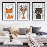 Nordic Art Deer Fox Bear Forest Cartoon Canvas Poster Minimalism Painting Animal Wall Picture Print Children Room Decoration 477