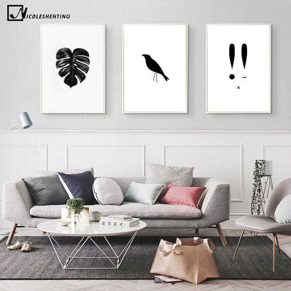 Watercolor Tropical Plant leaves Crow Art Canvas Poster Painting Black White Wall Picture Print Modern Home Room Decoration