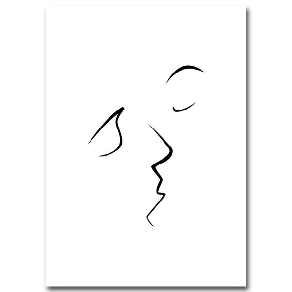 Nordic Art Kiss Fashion Girl Red Lip Canvas Poster Minimalism Painting Abstract Wall Picture Print Modern Home Living Room Decor
