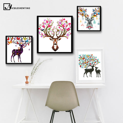 NICOLESHENTING Nordic Art Deer Butterfly Flower Canvas Poster Painting Abstract Minimalist Print Picture Home Wall Decoration