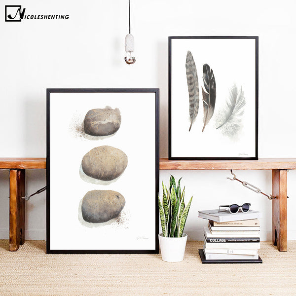 Birs Stone Feather Minimalist Nordic Art Canvas Poster Painting A4 Abstract Funny Wall Picture Print Modern Home Room Decoration