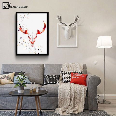 Deer Skull Nordic Art Canvas Poster Minimalist Painting Watercolor Abstract Wall Picture Print Modern Home Room Decoration
