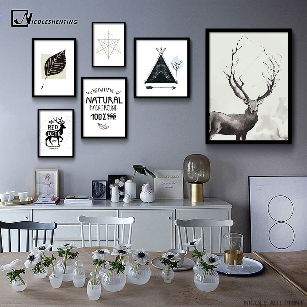 Nordic Art Leaves Deer Animal Canvas Poster Minimalist Painting Black White Abstract Picture Print Home Office Room Decoration