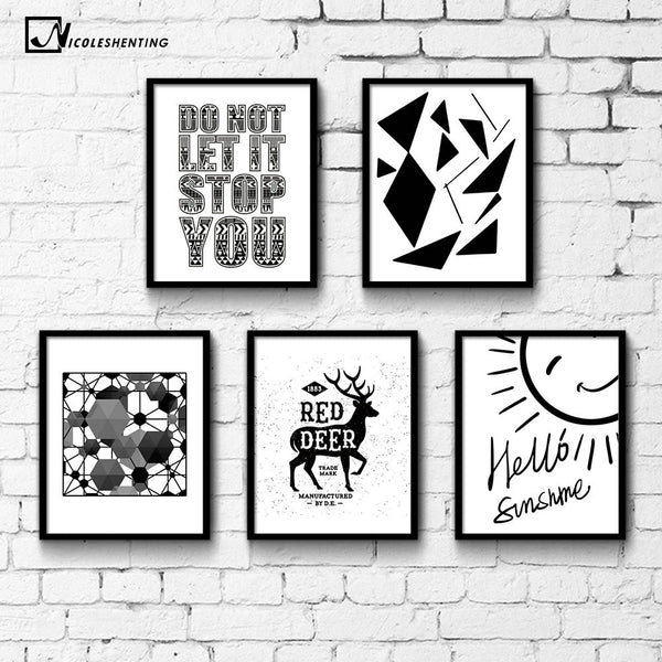 NICOLESHENTING Geometry Abstract Minimalist Canvas Poster Print Black White Nordic Art Picture Painting Modern Home Decoration