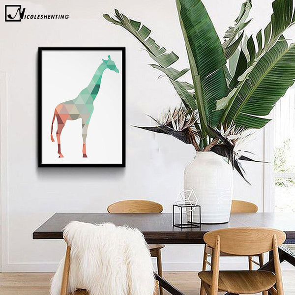 NICOLESHENTING Colorful Geometry Animal Deer Butterfly Minimalist Art Canvas Poster Painting Wall Picture Modern Home Decoration