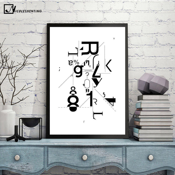 NICOLESHENTING Letter Art Abstract Minimalist Canvas A4 Painting Geometry Wall Picture Print Home Children Bedroom Decoration