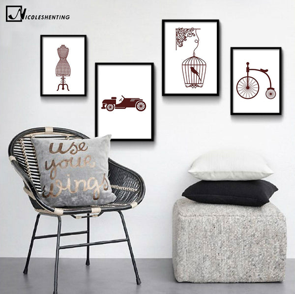 NICOLESHENTING Abstract Art Canvas Poster Minimalist Painting Vintage Wall Picture Modern Home Bedroom Decoration Car Bicycle