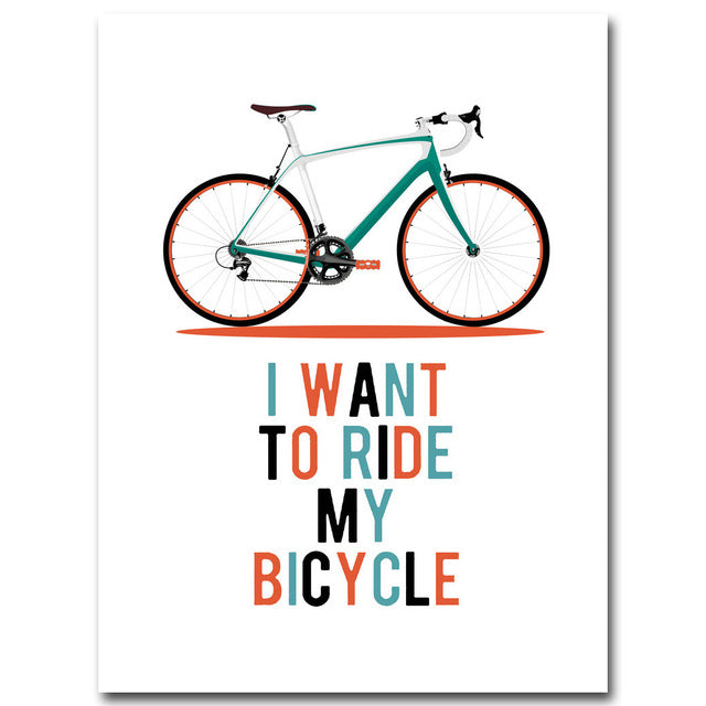 Bicycle Motivational Quotes Art Canvas Poster Minimalist Painting Inspirational Picture Print Modern Home Room Wall Decoration