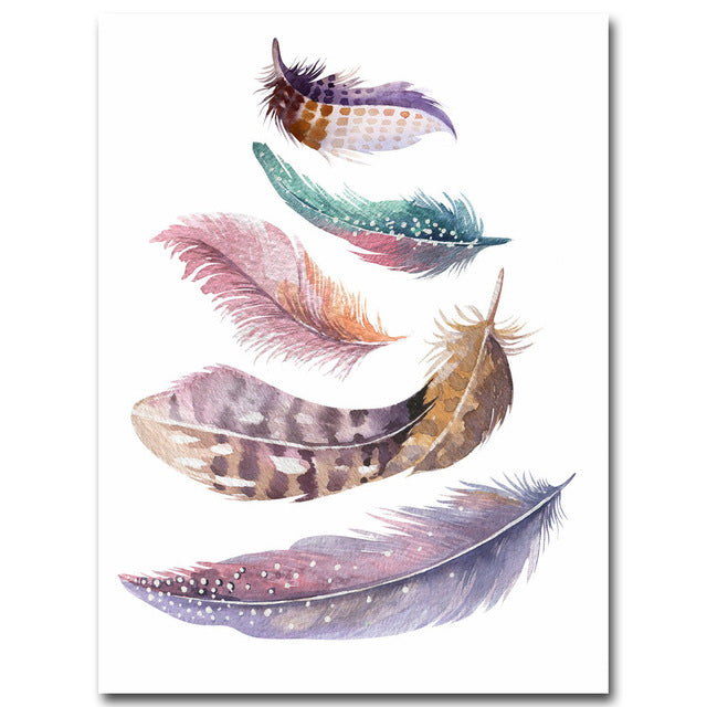 NICOLESHENTING Nordic Art Watercolor Feather Minimalist Canvas Poster Painting Wall Picture Modern Home Living Room Decoration