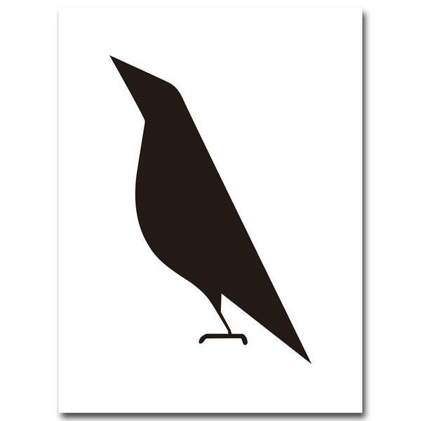 Crow Deer Geometry Abstract Poster Minimalist Art A4 Canvas Painting Black White Wall Picture Print Modern Home Room Decor C213