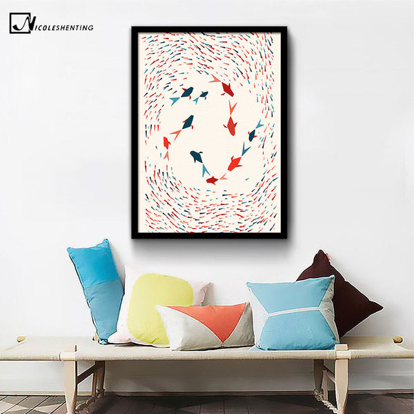 NICOLESHENTING Geometry Fish - Minimalist Art Canvas Poster Print Abstract Wall Picture Modern Home Office Decoration Gift