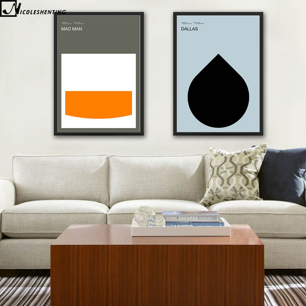 NICOLESHENTING TV Minimalist Art Canvas Poster Painting Geometry Abstract Wall Picture Print Modern Home Bedroom Decoration
