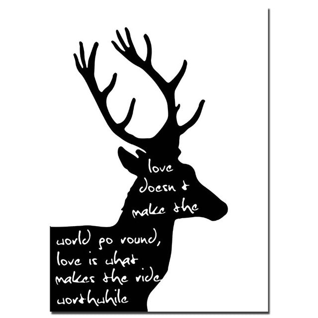 NICOLESHENTING Deer Bible Motivational Quote Minimalist Art Canvas Poster Black White Abstract Picture Modern Home Decoration