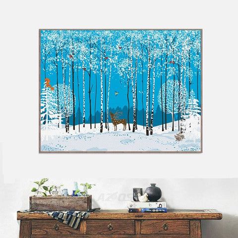 Modern Fashion Animal Forest snow deer Large Art Print Poster Hippie Wall Picture Canvas Painting No Frame Room Home Decor PP127
