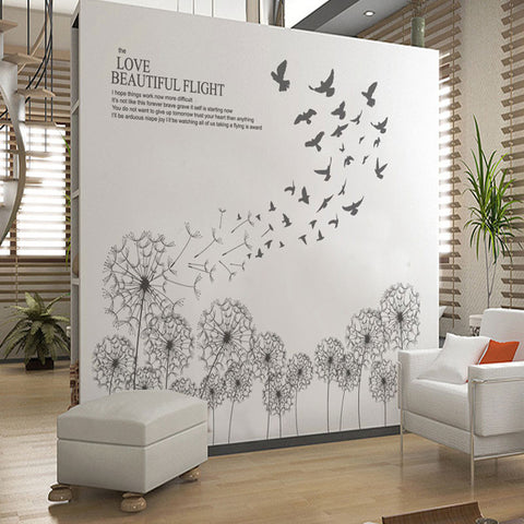 Captivating Vinilo Decorativo Para Pared With Birds Flying Black Dandelion Wall Sticker  DIY Wall Stickers Home Decor ...