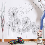 Vinilo Decorativo Para Pared With Birds Flying Black Dandelion Wall Sticker DIY Wall Stickers Home Decor Living Room Wall Decals