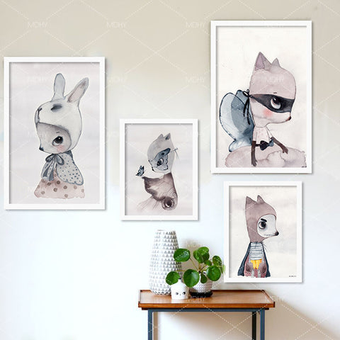 rabbit girl wall poster Posters decorative wall painting Canvas Art Print Wall Pictures Home Decoration poster Frame not include