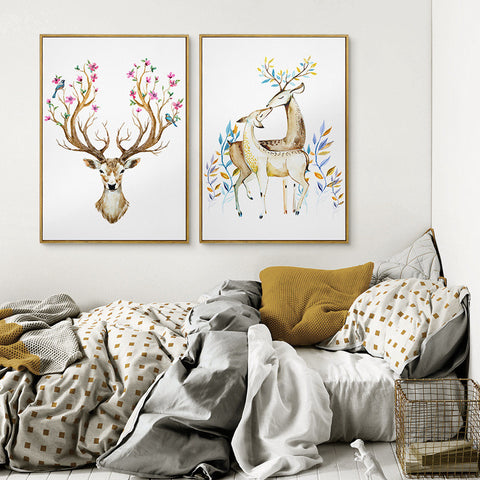 Art Beautiful Deer canvas Painting flower Deer wall art Modern painting Cuadros Decorativos Living Room oil painting
