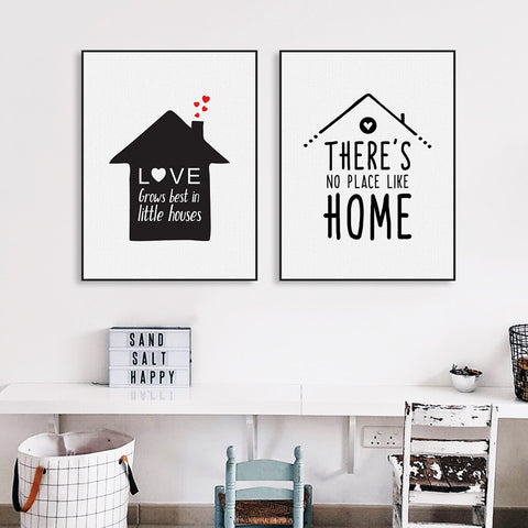 Black White Nordic Minimalist Houses Love Quotes A4 Canvas Art Print Poster Wall Picture Painting Home Kids Room Decor