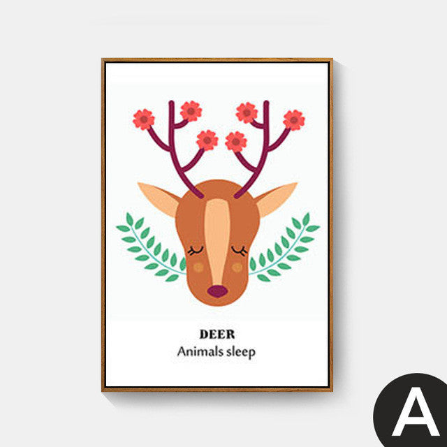 Lovely Fox And Deer Nordic Kids Room Posters And Prints Wall Art Canva U2013  EllaSeal