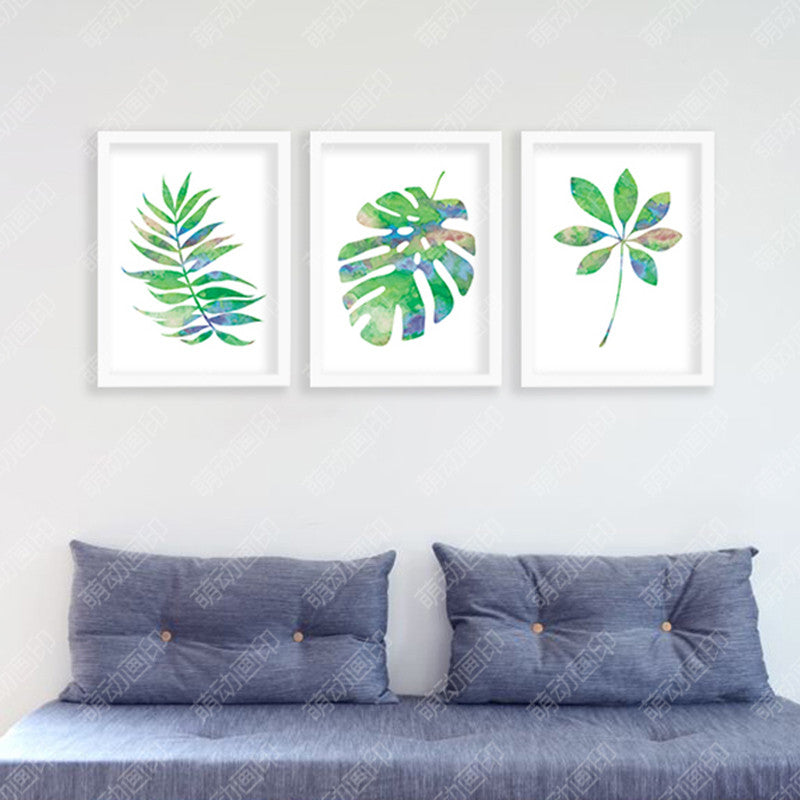 Green Leaves Wall Posters Beauty Circle Posters Decorative Wall Painting Canvas Art Print Wall Pictures Home Decoration