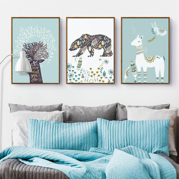 beautiful Coral Deer wall paintings Canvas Art Print Painting Poster, Wall Pictures vintage home decor