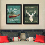 Retro Canvas Painting Deer Abstract Oil Print Poster Art Canvas Wall Picture for Living Room Bedroom Home Decor