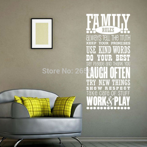 Family Rules Quotes Wall Decals for Living Room Art Mural Wall Stickers Lettering home decor Room Decoration