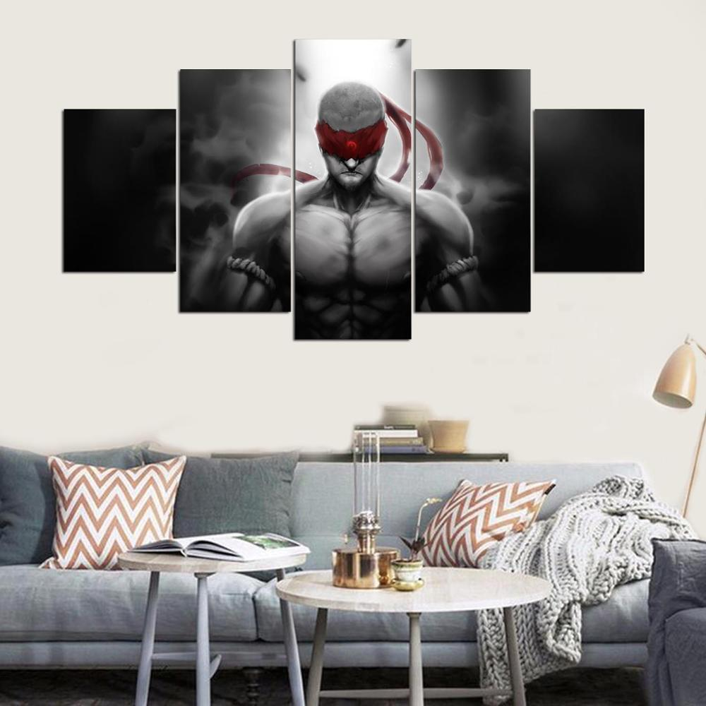 Canvas Painting Living Room Wall 5 Panels Strong Man Poster Frames ...