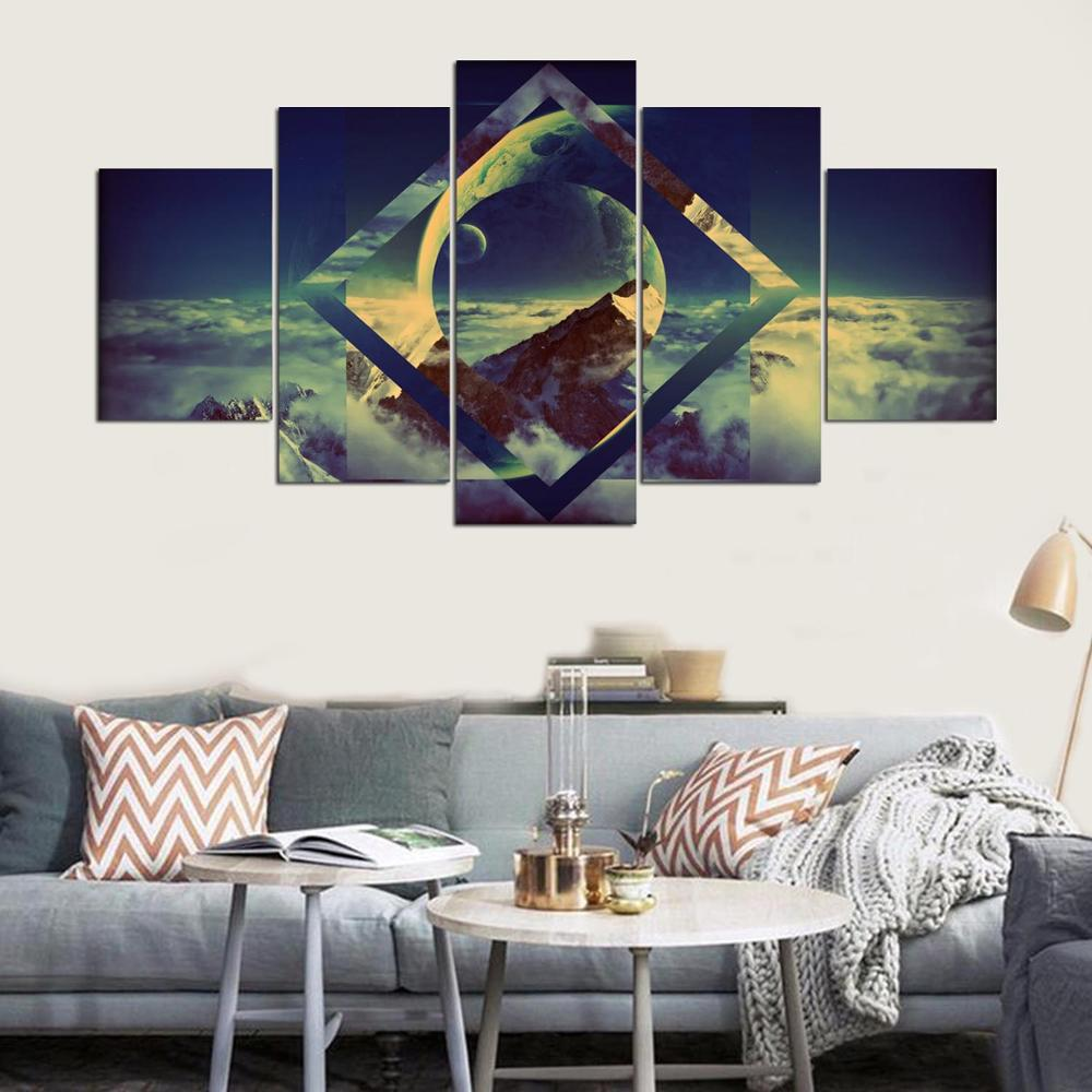 Canvas Wall Art Frames Modular Picture 5 Panel Beautiful Planets Lands Ellaseal