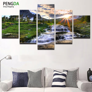 Home Decor Print Canvas Oil Painting Vintage Wall Art Canvas Painting 5 Panel PENGDA Waterfall Wall Picture For Living Room Deco