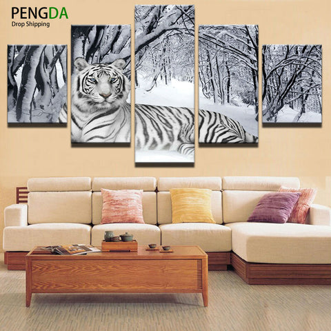 Home Decor Print Canvas Oil Painting Vintage Wall Art Canvas Painting Wall Modular Picture 5 Panel Animal Tiger For Living Room