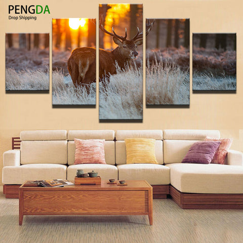 Modern Wall Art Canvas Prints Landscape Canvas Painting Modular Picture 5 Panel Animal Deer Frames Painting Decor Picture