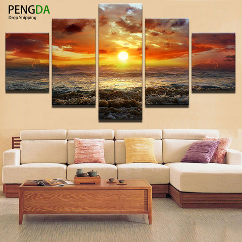 Wall Art Canvas Painting Poster Wall Frames Pictures For Living Room 5 Panel Sunrise On The Sea Home Decor Modular Pictures