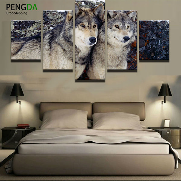 Decoration Modular Pictures Vintage Home Decor 5 Panel Animal Wolves Paintings On Canvas Posters And Prints Pictures On The Wall