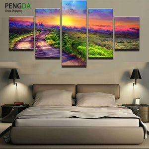 Printed Modular Picture Large Canvas Painting For Bedroom 5 Pieces Sunrise Landscape Living Room Home Wall Art Decoration