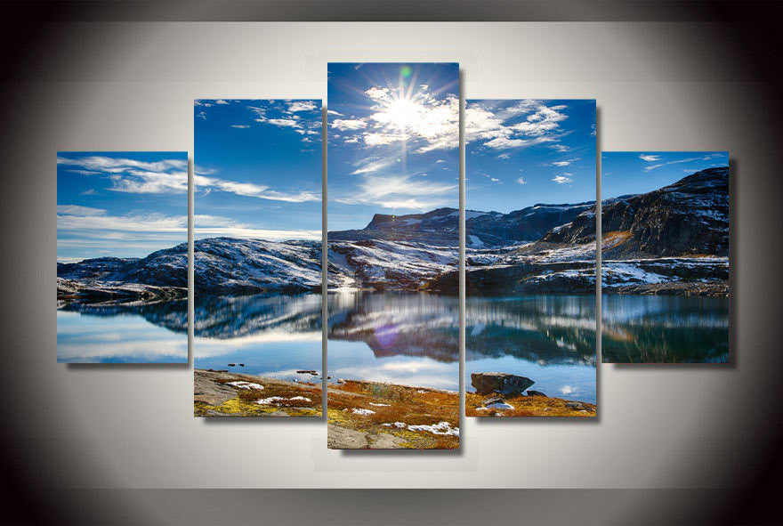 5 Panel Blue Sky Snow Mountain Lake Landscape Modern Home Wall Decor Canvas Picture Art HD Print Painting On Canvas Artworks