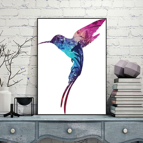 Hummingbird Minimalist Abstract Canvas Painting Animals Wall Art Oil Poster Wall Pictures For Living Room No Frame Home Decor