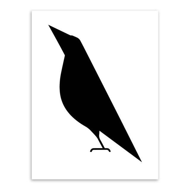Black White Animal Bird Abstract Pritable Minimalist Poster Canvas Wall Art Paintings Pop Print Wall Pictures Room Home Decor